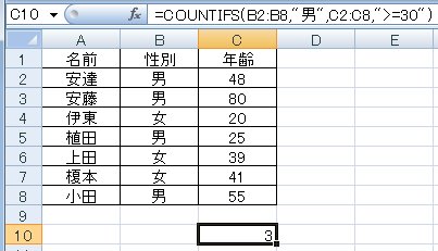 Excel関数 COUNTIFS